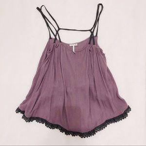 Free People Purple & Gray Lace Cami Tank Top